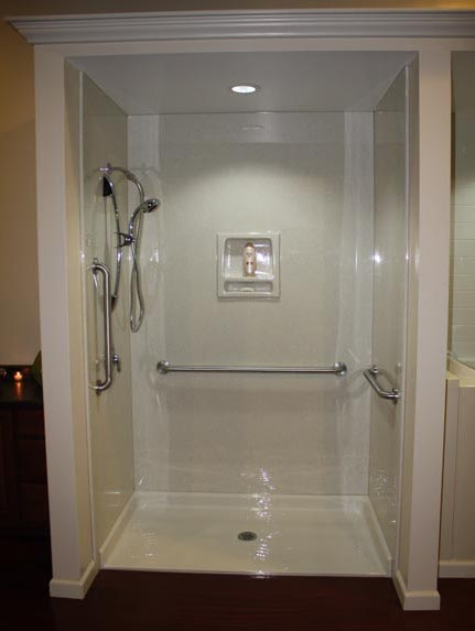 How a tub to shower bathroom conversion works luxury for Bathroom conversions for elderly