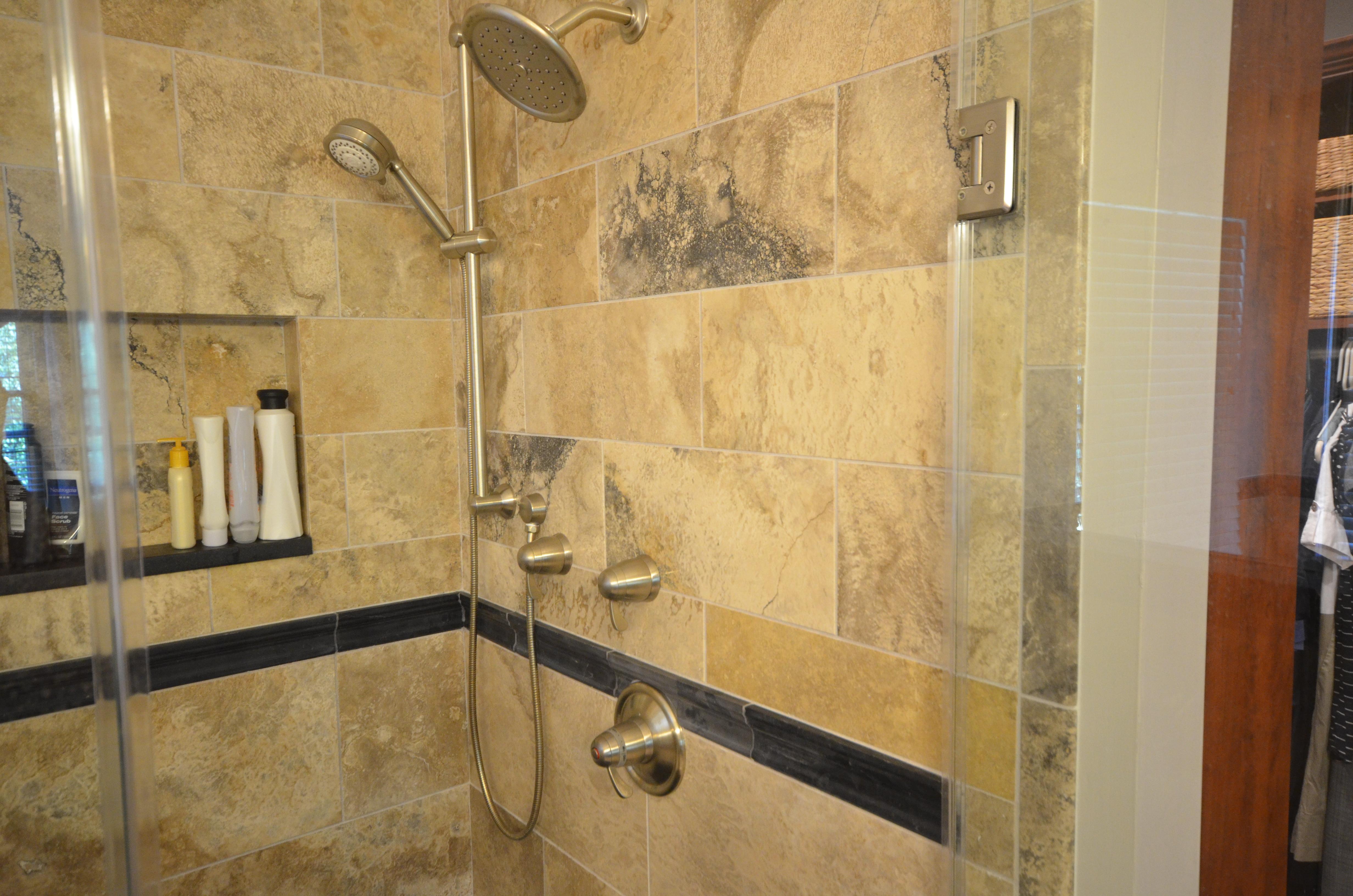 tiled shower